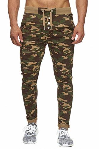 BELLIS® Trouser with Buttons and Zip Jogginghose Sweatpants Herren S-XXXL / T-00015 Camel-Camo