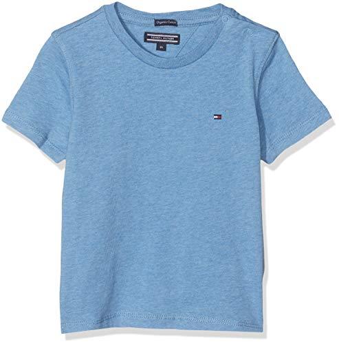 Tommy Hilfiger Boys Basic Cn Knit S/s Camiseta, Azul (Dark Allure Heather 408), 92 para Niños