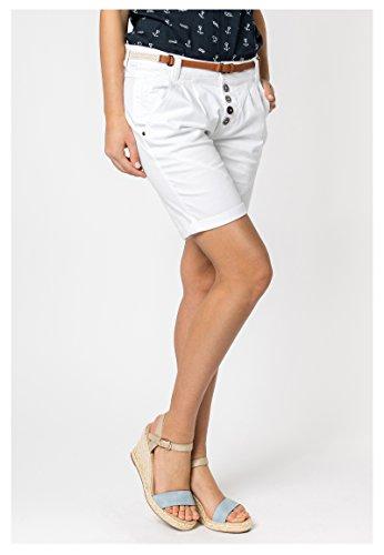 SUBLEVEL Damen Chino-Shorts mit Flecht-Gürtel   Leichte Bermuda   Kurze Hose in Schwarz, Weiß, Grau & Rosé White