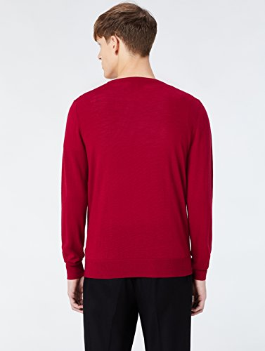 MERAKI Merino Pullover Herren mit V-Ausschnitt Rot (Red)