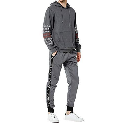 ESAILQ Herren Herbst-Winter-Letters Sweatshirt Top Pants Sets Sportanzug Trainingsanzug(Large,Grau)