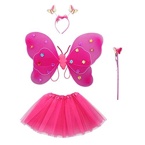 Sharplace Bambini Ragazze Farfalla Ali Bacchetta Fascia Tutu Abiti Vestito Operato Cosplay Costumi - Rosa rosso