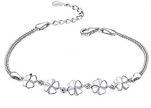 Vi.yo Bracelets Argent Bracelets Cadeaux Shamrock pour Bijoux pour Femmes Accessoires Simples Elégants