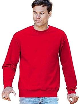 Maglia Maniche Lunghe Uomo Fruit Of The Loom Felpa Girocollo Cotone Set In, Colore: Rosso, Taglia: M