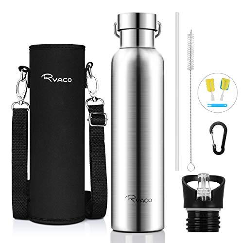 RYACO Trinkflasche Edelstahl Wasserflasche 750ml, Vakuum-Isolierte BPA-frei auslaufsicher Thermosflasche, 24 Std Kühlen & 12 Std Warmhalten, Inklusive 2 austauschbare Kappen - Glas Isolierflasche