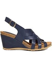 7f230e2bd Amazon.es  Piel - Sandalias y chanclas   Zapatos para mujer  Zapatos ...