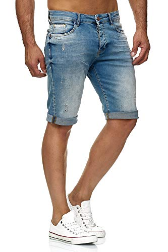 Red Bridge Herren Jeans Shorts Kurze Hose Denim Bermuda Stretch Capri Basic Blau Grau oder Weiß (W33, Lightblue) (Shorts Herren Denim)