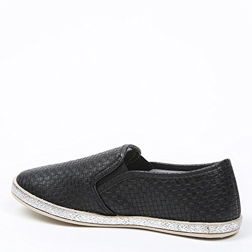 Ideal Shoes-braided Glitter Effect Slip-on Dalila Black