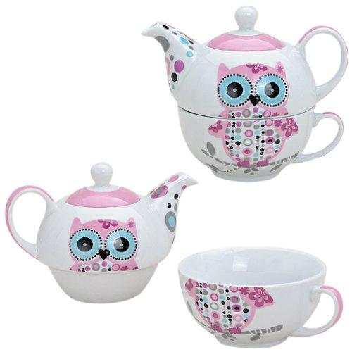 Tee-Set mit Eulen Motiv in Rosa für eine Person | Teekanne & Teetasse | Pinkes Porzellan-Teeservice in Geschenkbox | schön designte Henkel-Tasse & Henkel-Kanne für Teetrinker | Tassen-Set Tea for one