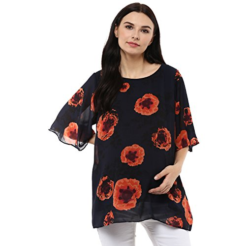 Wobbly Walk Women's Round Neck, Umbrella Sleeves, Floral print, Maternity Top, Blue