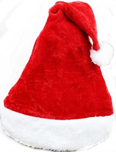 Deluxe Velvet Santa Hat Plush brim Adult Christmas Party Cap Celebration Grand Event Favors Gift Red Festive Party Fancy ()