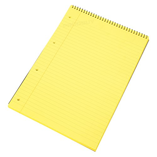 pack-of-5-spiral-memory-aid-a4-yellow-160-page-paper-notepad-refill-legal-lined-writing-pads