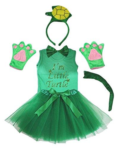 Petitebelle 3D-Stirnband Bowtie Schwanz Handschuhe Hemd Rock 6pc Mädchen-Kostüm 5-6 Jahre 3d Gruen Turtle (Baby Und Kind Green Turtle Kostüm)