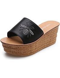 HAIZHEN chaussures pour femmes Sandales pour femmes Comfort PU Été Marche en plein air Confort Boucle Chunky Heel 2.36 In (6cm) Pour femmes (Couleur : Noir, taille : EU38/UK5.5/CN38)
