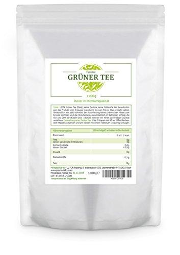 Matcha Thé Vert en Poudre - 1.000 grammes (1kg) emballage de conservation des arômes (feuille pulvérisée finement, séché)