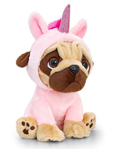 Große Süße Kostüm Hunde - Lashuma Rosa Plüschtier Mops mit Einhorn Kostüm, Kuscheltier Hund 14 cm