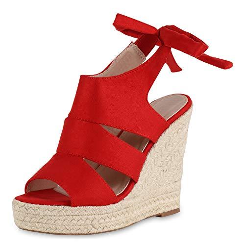 SCARPE VITA Damen Plateau Sandaletten Bast Schuhe Keilabsatz Sandalen High Heels Absatzschuhe Cut Out Sommerschuhe 183021 Rot Bast Creme 39 (Rote Sandalen Plattform)