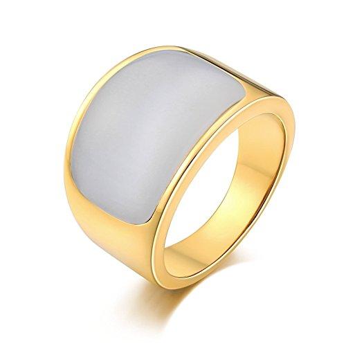 Anazoz gioielli anelli uomo acciaio fede ragazzo moda stile acciaio inossidabile bianco pietra placcato oro fedi nuziali acciaio size 15