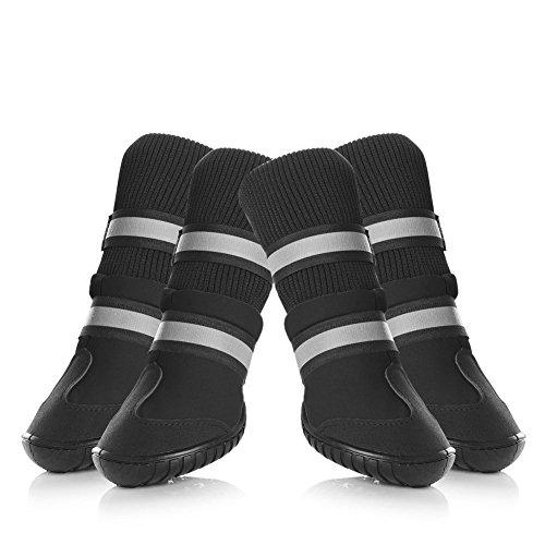 XiYunHan Pet Schnee Stiefel, 4 PCS Winter Warme Haustier Hohe Schuhe Wasserdicht Hund Stiefel Klettverschluss mit Strapazierfähigen Oxford Hund Schuhe 2 Farbe und 4 Größe (Color : Black, Size : L)