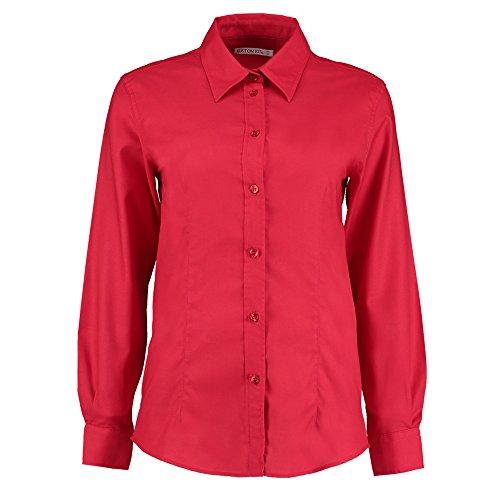 KUSTOM KIT Damen Modern Bluse Gr. 46, Rot (Chiffon Silk Wrap Sleeve Dress)