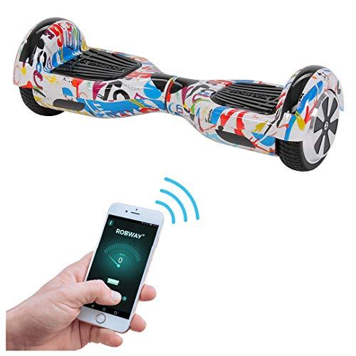 Robway W1 Hoverboard - Das Original - Samsung Marken Akku - Self Balance - 22 Farben - Bluetooth - 2 x 350 Watt Motoren - App - Led (UL2272 Splash-White)