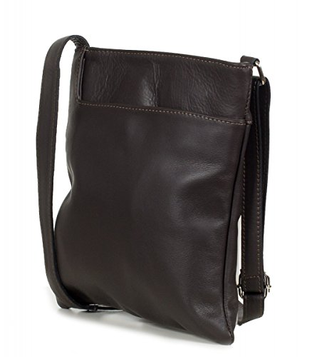 Taschenloft   Kleine Damen Umhängetasche 22x24x2cm   Leder-Handtasche für Frauen aus 100% Nappa Rinds-Leder   Schulter-Tasche oder Crossover-Bag (Bronze Gold) Braun (Dunkelbraun)