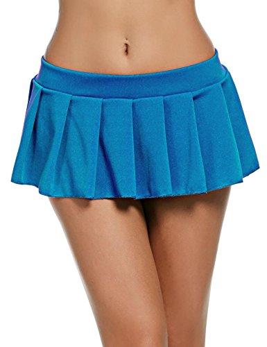 Pagacat Sexy Minirock, verführerisch Kurz Erotik Faltenrock Einfarbig Nachtwäsche für Gogo Party S-XL (L, Blau)