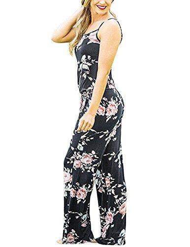 Hibluco Damen Sommer Schulterfrei Jumpsuit Blumen Overall mit Taschen Schwarz