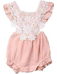 Sayla Ropa Bebe NiñA NiñO Verano Camisetas Conjuntos Moda Chica O-Cuello Encaje Floral Mameluco