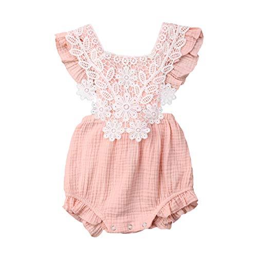 LEXUPE Baby Mädchen, Neugeborenes Baby MäDchen Spitze Floral Strampler Body Sleeeless Kleidung Outfits