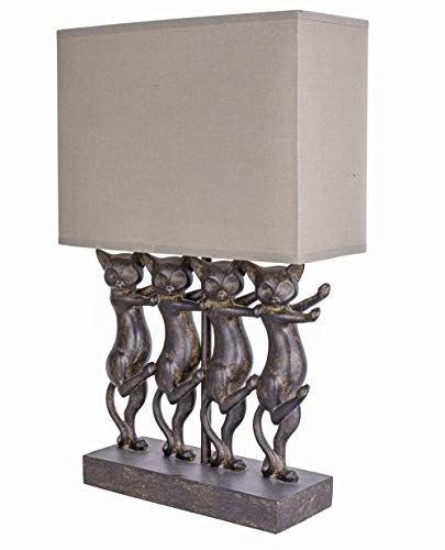 Tischlampe Katze Leuchte Stoffschirm Tischleuchte Katzenfigur Vintage Lampe CW048 Palazzo Exklusiv