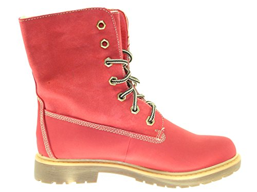 Combat Boots Stiefeletten Farbe Rot zum Schnüren (gefüttert) Rot