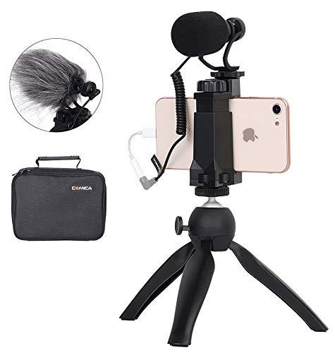 Smartphone Video Kit Comica CVM-VM10-K2 Smartphone Mikrofon mit Stativ, Video Rig für iPhone X 8Plus 8 7Plus 7 Samsung Huawei etc.