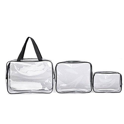 TOPmountain 3 pcs Trousse de Toilette avec Zipper Voyage Bagages Pouch Carry Sur Effacer Aéroport Airline Compliant Sac Voyage Cosmétique Maquillage Sacs