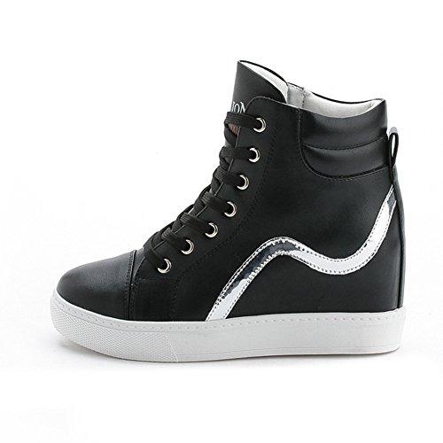 Moderne Damen Schnürsenkel Runde Zehen Dicke Sohle Flache Lässige Sportliche Sneakers Schwarz