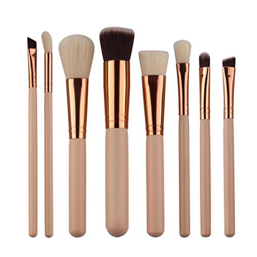 Honestyi 8Pcs Mini ensembles de pinceaux cosmétiques Outils de trousses de maquillage Pinceau à sourcils Eyebrow (Beige)