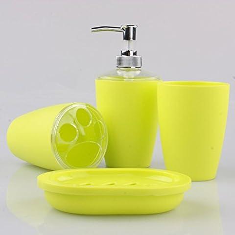 Pixnor 4pc jeu d'accessoires de salle de bains élégante en plastique distributeur brosse à dents porte-savon (jaune)