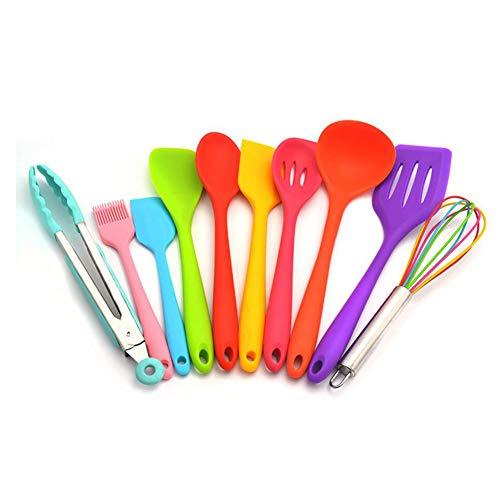 Spoonula Set (PRXD 10 Silikonküchenutensilien Kochutensilien - Ablassen des Löffels/Eggbeater/Kleine Mädchen Rosa Druckknopf/Kleine Klingenschaufel/Durchsickern Große Klinge/Butterspatel usw (Bunt))