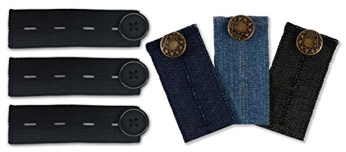 Mamaband Hosenerweiterungs Set – Elastische Hosenbunderweiterung für die Schwangerschaft – 6er Pack in verschiedenen Jeans-Waschungen und Schwarz