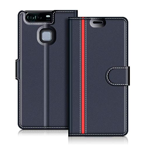 COODIO Custodia in Pelle Huawei P9, Custodia Huawei P9, Custodia Portafoglio Cover Porta Carte Chiusura Magnetica per Huawei P9, Blu Scuro/Rosso