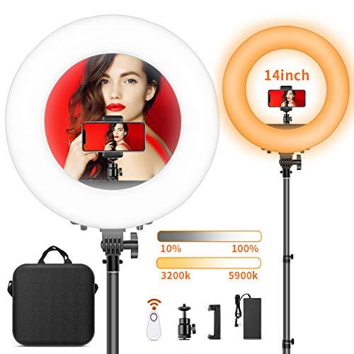 LED Ringlicht, FOSITAN 14-Zoll/36 Zentimeter Ring Licht Set, 50W Bi-Farbe 3200-5900K 384 SMD mit 2M Standfuß, Bluetooth-Empfänger für Smartphone, für YouTube Self-Porträt Videoaufnahme Make-up (Halo-light-fotografie)