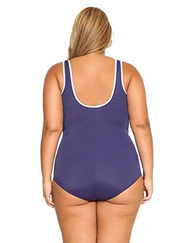 Delimira Damen Einteiler Badeanzug - Vorne Reißverschluss,Schale Slim Bademode Marine