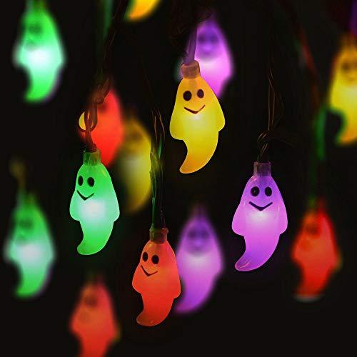 MOMBIY Halloween Lichterketten 1,2m 10LED Cute Ghost Lichterketten Spooky Lamp Batteriebetrieben für Halloween Outdoor Indoor Dekorationen Festival Ornamente - Cute Ghost Kostüm