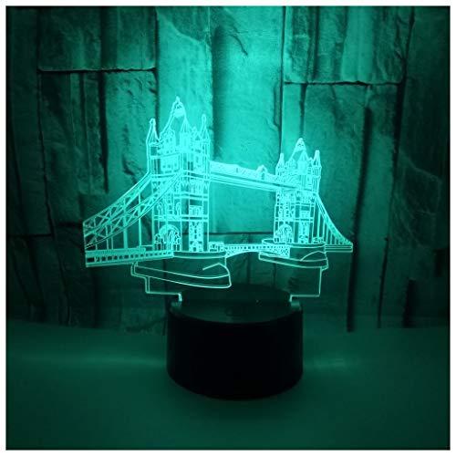 Hyvaluable 3D Veilleuses Veilleuse 3D, Souvenirs de Voyage de Construction Creative 3D Night Light Bridge Touch Coloré Couleur 3D Petite Lampe de Table, Veilleuse 3D Eclairage pour Enfants