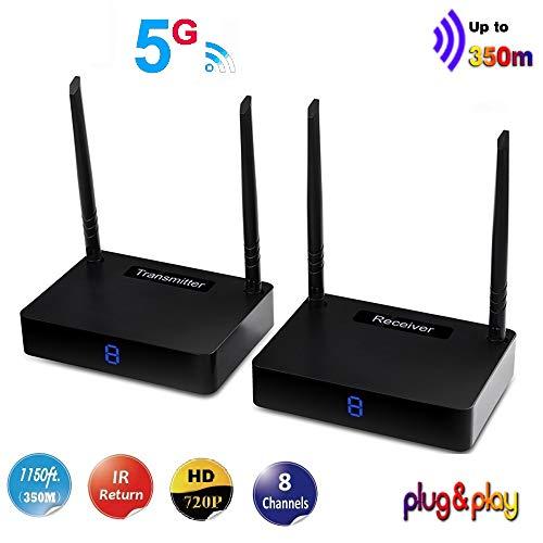 MEASY HD585 trasmettitore e ricevitore HDMI extender wireless fino a 350m / 1150 piedi supportano 8 canali e ritorno telecomando IR