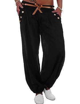 Fossen Mujer Ropa Pantalones Largos Mujer Anchos Casual Pantalón de Talla Grande con Cinturón