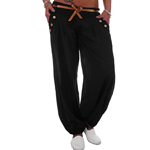 Fossen Mujer Ropa Pantalones Largos Mujer Anchos Casual Pantalón de Talla Grande con Cinturón (5XL, Negro)