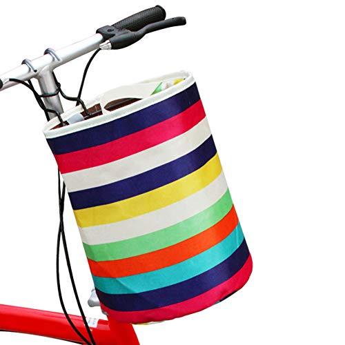 Makwes Radfahren Fahrrad Regenbogen Streifen Korb Vorratsbehälter Einkaufstasche Handtasche,Fahrradkorb, Faltbar Fahrrad vorne Korb, Easy Install Abnehmbare Lenkerkorb Tasche für Kleiner