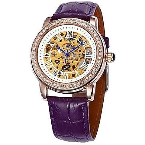 Fenkoo fascia cassa in oro in pelle quadrante cave di diamanti orologio da polso automatico meccanico delle donne (colori assortiti)