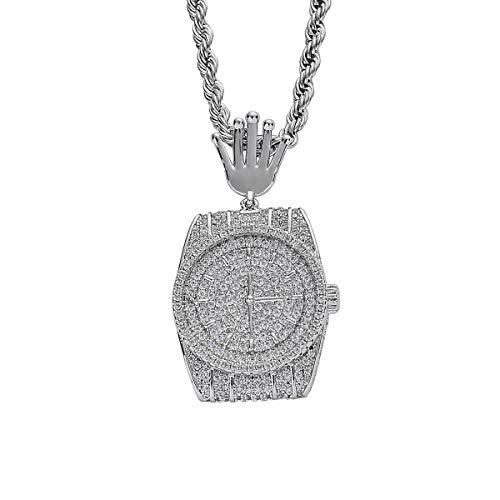 FIZZENN Unisex exquisiter Schmuck Hip Hop gefror heraus Bling Kupfer-und Micro-Intarsien Zirkon-Uhr-Anhänger mit 60 cm Edelstahl-Seil-Ketten,Silber